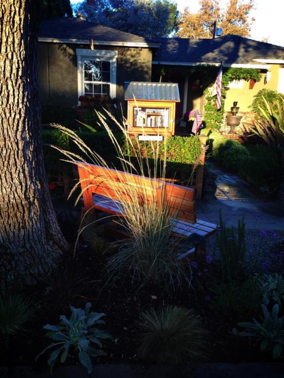 The Little Free Library Reseda in the morning light.